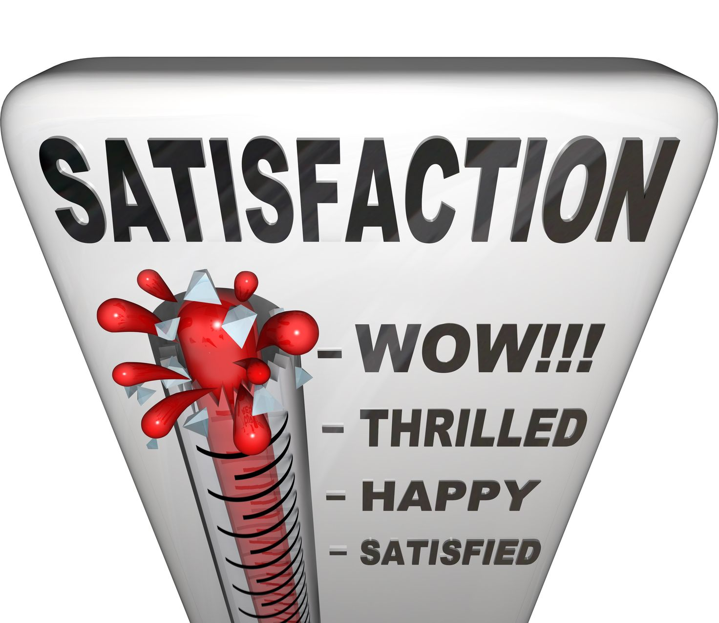 10337420 - a thermometer topped with the word satisfaction measures the happiness a person or customer has with his or her experience in a retail or other environment, with the mercury rising past levels for satisfied, happy, thrilled and wow